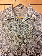 Vintage 70's Dolphin Men's Blue & White Floral Hawaiian Aloha Camp Shirt S