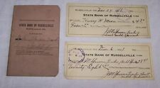 1921 STATE BANK OF RUSSELLVILLE INDIANA ACCOUNT DEPOSIT BOOK-2 CANCELLED CHECKS-