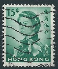 R010) Hong Kong. 1962/73. utilizzato SG 198 15 quater Emerald. royalty.