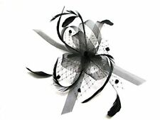 STUNNING Black Net Bow With Feather Tendrils Fascinator Set on Ribbon Bound