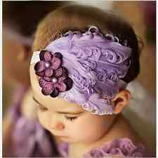 Vintage Baby Headband flower Feather Pad prop hair band Accessorie