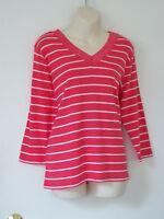 Ralph Lauren Chaps Striped Cotton Knit Top Lace Trim V-Neck NWT Plus Size 1X
