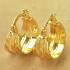 Fashion Clip On Earring Yellow Gold Filled 3-Row lucky Womens Hoop Earrings lot