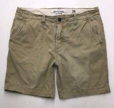 O335 Abercrombie Fitch Khaki Chino Button-Fly Men's Shorts Tag sz 36 (Mea 37x8)