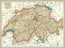 1938 Vintage MAP of SWITZERLAND Antique Original Switzerland Atlas Map 8641