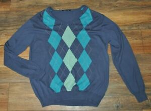 Woolovers Mens Jumper Sweater Pullover Blue Argyle L / Large 10% Cashmere