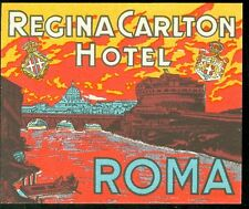 Luggage Label - Regina Carlton Hotel Roma - Vibrant Orange & Yellow
