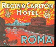 Luggage Label - Regina Carlton Hotel Roma - Vibrant Orange & Yellow