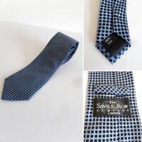 ❤ THE SAVILE ROW COMPANY LONDON  Lovely 100% Silk Tie Navy / Blue & White VGC