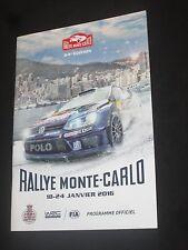 PROGRAMME OFFICIEL  84 eme RALLYE MONTE CARLO 2016 WRC