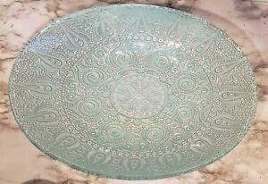 Moroccan Style Decorative Glass Bowl Oval Silver Robin's Egg Blue Coastal