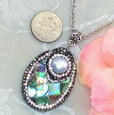 "FREE SHIP 2"" Rhinestone Genuine Abalone Paua Shell Pearl Pendant Necklace"