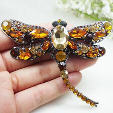 Brooch Pin Rhinestone Animal Jewelry Brown Crystal Dragonfly Bird Woman