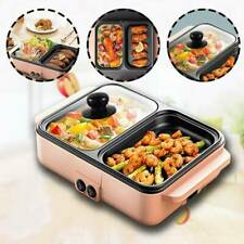 2 in 1 Portable Electric Hot Pot Barbecue Grill Non-Stick Teppanyaki Pan 110V