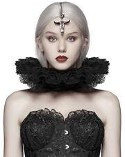Punk Rave Gothic Elizabethan Lace Collar Neck Ruff Black Renaissance Victorian