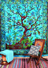 Turquoise Tree Of Life Floral Art Wall Hanging Twin Bedspread Tapestry Blanket