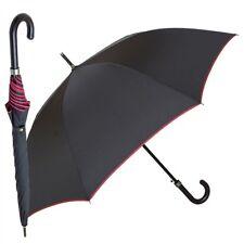 Regenschirm Stockschirm Automatik Herren schwarz Ledergriff
