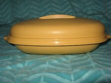 Vtg Tupperware Steamer Bowl Rice Cooker Microwave Dish Oval Gold Vegetable