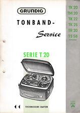 Service Manual for Grundig TK 20 / TM 20 / TK 22/TK 25/TR 20/TS 58