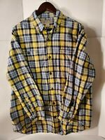 Duluth Trading Co Men's Large Yellow/Blue Plaid Button-Down Cotton Flannel Shirt