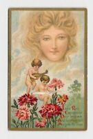 ANTIQUE POSTCARD VALENTINE CUPIDS PLAY MUSIC WHILE SITTING IN FLOWERS WOMAN IN C