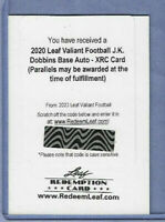 J.K. DOBBINS 2020 LEAF VALIANT FOOTBALL AUTO XRC REDEMPTION CARD UNUSED RAVENS
