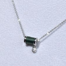 18K WHITE GOLD GP MADE WITH SWAROVSKI CRYSTAL THREAD SPINDLE PENDANT NECKLACE