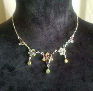 VTG Necklace 925 STERLING SILVER Multi Gemstone Collar Bib Princess Artisan