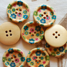 10 Zakka Floral Wood Sewing Buttons 25mm - Daisy Flower