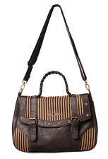 Banned Steampunk Tasche Military Gothic Bag Retro Stripe Vintage Kunstleder 722