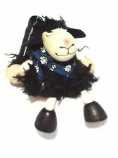 HANDMADE WOODEN BOUNCY PUPPET BLACK SHEEP SPRINGY DECORATION TOY