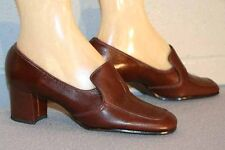 5.5 NOS Vtg 70s PIRATE PUMP CHUNKY HEEL BROWN CALIFORNIA COBBLERS LEATHER SHOE