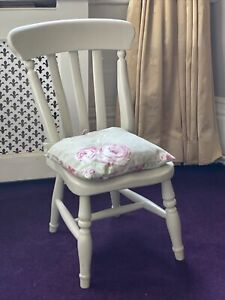 Childs Wooden Painted Small Chair With Cushion