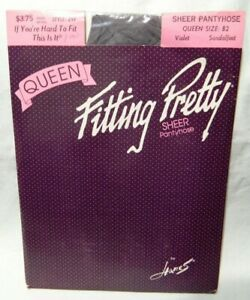 Vintage Hanes Fitting Pretty Sheer pantyhose Queen size B2 violet color