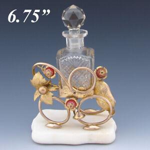 Antique French Napoleon III Palais Royal Style Perfume Stand, Alabaster & Ormolu