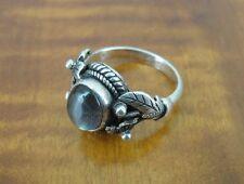 Vintage Flowers Leaf Labradorite Stone Sterling 925 Silver Band Ring Size 8