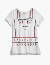 LUCKY BRAND Embroidered White Short Sleeve Cotton Peasant Top Boho Shirt ~ S NWT