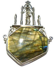 SOMS SOM'S X-LARGE LABRADORITE STERLING SILVER ANGEL STAR RELIGIOUS PENDANT