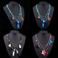 Vintage Women Boho Feather Pendant Long Chain Bib Necklace Beads Tassel Jewelry