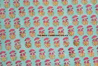 By Yard Flower Hand Made Block Print Fabric Beautiful Indian 100% Cotton Fabric