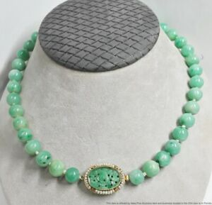 Rare Antique Jadeite Jade 1920s Necklace Type A No Treatment 14K Gold Seed Pearl