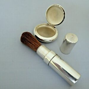 VINTAGE HM SILVER  2002 MAKE UP  BLUSHER POWDER BRUSH & COMPACT BY MAPPIN & WEBB