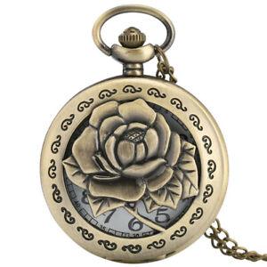 Vintage Bronze Rose Flower Quartz Pocket Watch Necklace Pendant Chain Women Men