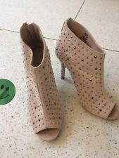Next Uk5 Heels Club Nude Salmon Pink Court Shoes High Studs Peep Toes Ankle