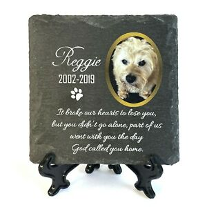 Personalised Pet Memorial Plaque With Photo Stand Slate Tombstone Grave Marker