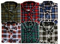 Mens Flannel Check Lumberjack Brush Cotton Work Shirt Checked M TO 5XL