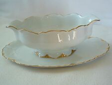GRAVY BOAT ATTACHED TRAY Germany THOMAS Fine China FLUTED 812 55 Gold Trim VNTG