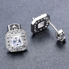 Princess Cut Cubic Zirconia Wedding White Gold Filled Stud Earrings for Lady
