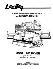 New LeeBoy 700 Paver Operation Operators Maintenance Parts Manual