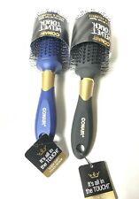 """2 Conair Velvet Touch Round Brush w/ Gold Highlights 9"""" Double Nylon Bristles"""